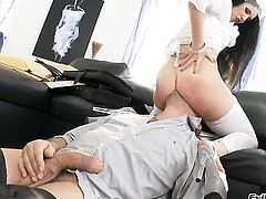 Omar Galanti has a great time fucking Isabella Clark in the back yard before she gets her mouth used