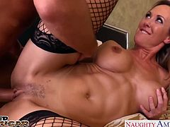 Superb chesty blonde cougar in sexy red dress Brandi Love suck and fuck a big shaft