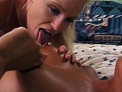 Bitch takes strap on in her pussy
