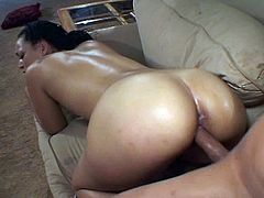 Watch this sexy ebony babe get her sweet wet pussy stuffed with a nice big long black cock in this free tube video.