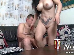While the wife is out shopping, he lets the busty maid ride his cock he blows his load on her tits.