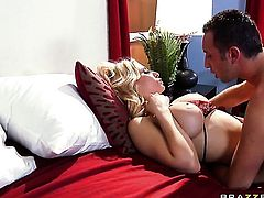 Madison Ivy with massive jugs and horny dude Keiran Lee have a lot of sexual energy to spend