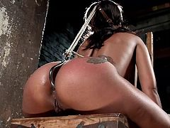 The punishment applied to slutty Skin Diamond, a black exiled princess, does not lack cruelty. But with the pain itself, there comes the lusty sinful pleasure... The brunette attractive bitch with small tits and beautiful legs has been bonded with rope and mouth gagged, so she couldn't cry out loud. See all!