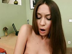 Brunette Sweet Lana gives herself some fuck hole stimulation with the help of her sex toy