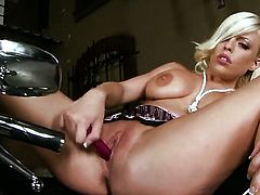 Britney Amber gives a closeup view of her bush as she masturbates