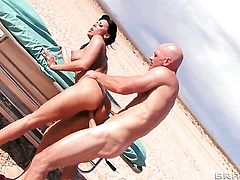 Rachel Starr with massive tits slowly sucks the head of her Johnny Sinss dick