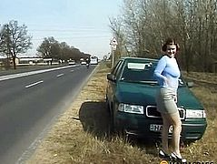 Sitting on the road to pee