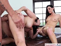 Brunette babes Angell Summers and India Summer share cock