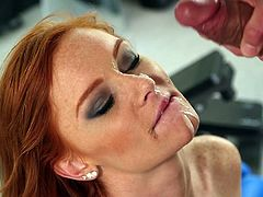 Visit official Only Teen Blowjobs's HomepageGorgeous redhead enjoys cum on her warm lips after stroking this large dong deep down her needy mouth
