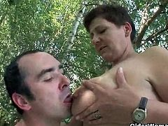 Fucking in the woods with a chubby old lady