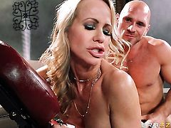 Johnny Sins gets his always hard snake sucked by Simone Sonay