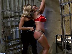 Blonde Kathia Nobili with giant melons is in heaven doing it with horny lesbian Pamela