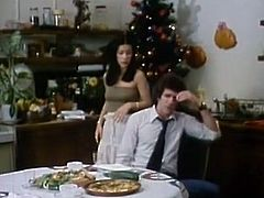 Thirsting guy pleases his bitchy brunette chick with solid x-mas cunnilingus