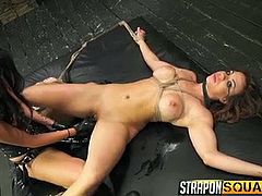 Kylie is a dominant bitch, who likes to face sit, while her naked brown-haired companion licks her pussy with delicacy. Click to watch the bonded babe, Esmi Lee, sucking strap on, before getting it stuffed in her horny cunt. Enjoy the naughty details...