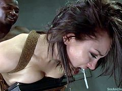 Sexy Gabriella has been bonded strongly, while a black dominant guy uses her in a rough dirty way. Click to enjoy the inciting mouth fuck blowjob scene... Fingering the brunette's ass, seems a good idea and banging her out from behind, is clearly the right thing to do. Enjoy and relax.