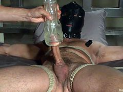 Jessie has no out, than remaining obedient and maintain his calm, because his dominant gay partner has strongly bonded him with ropes. Also, the attractive naked stud is wearing a mask on his face. Don't miss the hot blowjob scene!
