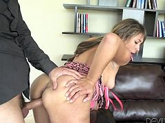 Slutty Coffey brought her lover home, but when the guy begins to fuck her from behind, her mother makes her presence. The brunette milf takes off her red dress and joins them on the couch... Click to see Nikki and the sexy babe sucking cock with lust.