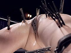 A busty milf gets tortured for being such a slutty bitch. When she makes aquaintance with the kinky bondage device, sexy Nadia also gets additional accessories, like clothespins, attached to her body parts. Click to enjoy the sight of her tormented pussy!