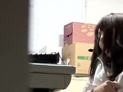 3 Japanese chicks Have funtime round Their chief inside An Office