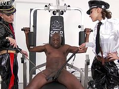 Two white mistresses use and abuse their hung black slave