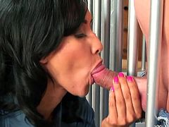 Latina cougar with fake tits blows and gets nailed doggystyle in prison