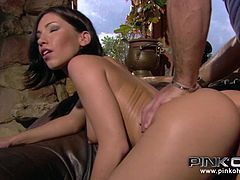 Watch the stunning brunette Mya Diamond riding a cock like a possessed before recieving all the cum in her mouth.