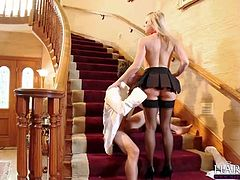 Blonde stunner Shawna Lenee gets fucked hard by her perverted teacher on the staircase in this pussy pounding scene that will leave you completely satisfied!