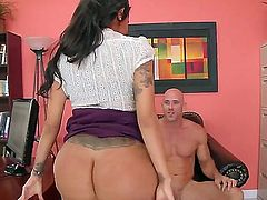 Raven haired office babe Lela Starr takes off her panties to take man meat in her neatly trimmed pussy after cock sucking, This big titted sexy babe is fucking horny. Watch sultry babe do it.