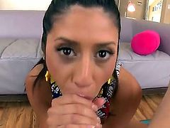 Angel Del Rey is a Latina brunette who loves taking the cock right in her mouth and then straight to her vagina until it shoots a big load all over her.