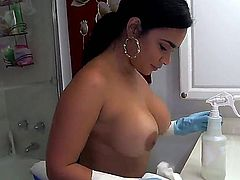 Her name is Destiny, she is a Latina maid and she has got one big fat ass that is just waiting to get tapped right after shes done with cleaning the room.