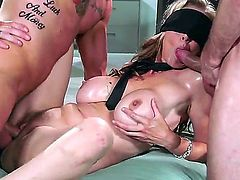 Julia Ann gets fucked by two fat cocks while shes wearing a blind fold and not knowing whos putting his dong where, whether its Bill or Clover fucking her in mouth.