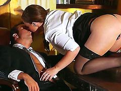 Maddy is a slutty secretary in sexy stockings. Her boss wants her to do more, so she gets down on her knees, gives head and they end up having office sex.