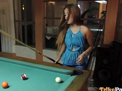 A hot Filipina with long blonde dyed hair was spotted when playing billiards. All in her slutty attitude, she tells a horny man that she's available for a crazy one-night stand, so he just picks her up and takes her to his place. See the sweet sexy babe undressing, sucking cock and riding it wildly!