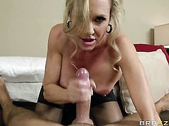 Brandi Love with big melons gives unthinkable deep blowjob to hot Keiran Lee