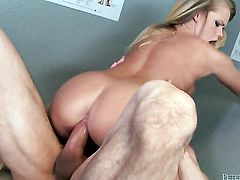 Peter North admires smoking hot Britney Youngs body before she takes his schlong in her mouth