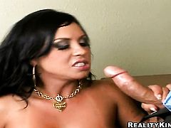 Mariah Milano with gigantic melons feels good with hard love torpedo in her mouth