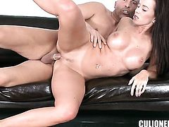 Cindy Dollar with big bottom takes pop shot on her nice face
