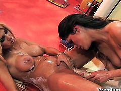 Carmel Moore gets turned on and then tongue fucked by her lesbian girlfriend Paola Rey