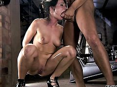 Katsuni gagging on sturdy ram rod of Rocco Siffredi after she takes it in her backdoor