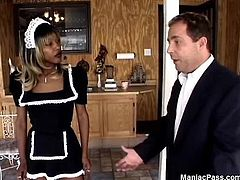 White boner for sexy ebony maid