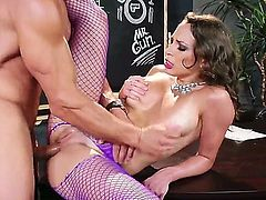 Lily Love is a sexy brunette babe with big natural tits. She is still in school and decides to make a move on her teacher. He is also into her and sticks his fat penis deep inside her wide open pussy.