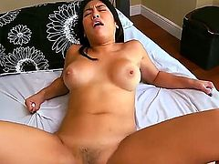 Busty chick Mia Lina in bed with her new bf. He stuffs her juicy vagina with his enormous cock until she starts to come hard.