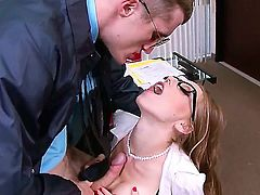Shawna lenee has some problems with her office books. The only way she can detain the cop is by riding on his big cock at the office.