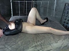 Black stud mouth fucks pale redhead Jessica Ryan bound in a straightjacket