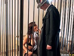 An elegant gentleman seems interested to get to know better a slutty babe, who has been locked behind bars. Anna feels excited that her isolation will end soon, as the horny man remains mesmerized by her mysterious charisma. See the bitch sucking cock on knees. The scenes breath a vintage air. Stay tuned!
