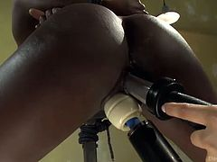 White mistress Isis Love fucks ebony chick with electro device