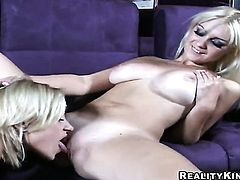 Blonde Sammie Rhodes with juicy jugs and clean cunt touching her muff