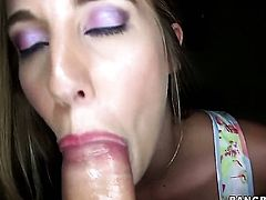 Sexy girl gives a blow job