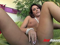 Insatiable brunette slut Tweety Valentine pleases her pussy with giant various dildos