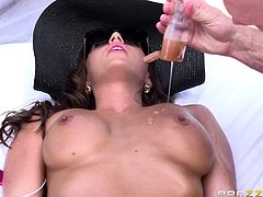 abigail gets aroused and blows dick